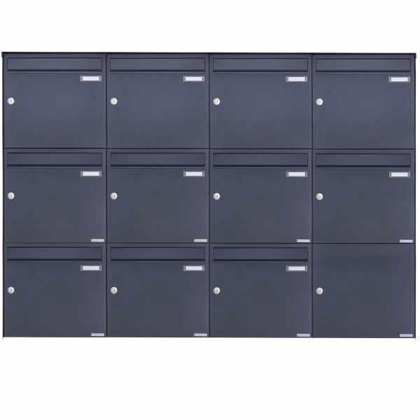 11er 3x4 Edelstahl Aufputz Briefkasten Design BASIC Plus 382XA AP - RAL nach Wahl