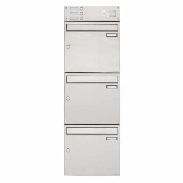 3er Edelstahl Aufputz Briefkasten Design BASIC 382A AP mit Klingelkasten