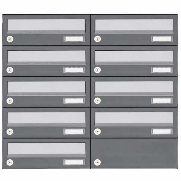 9er 5x2 Aufputz Briefkastenanlage Design BASIC 385A AP - Edelstahl-RAL 7016 anthrazit