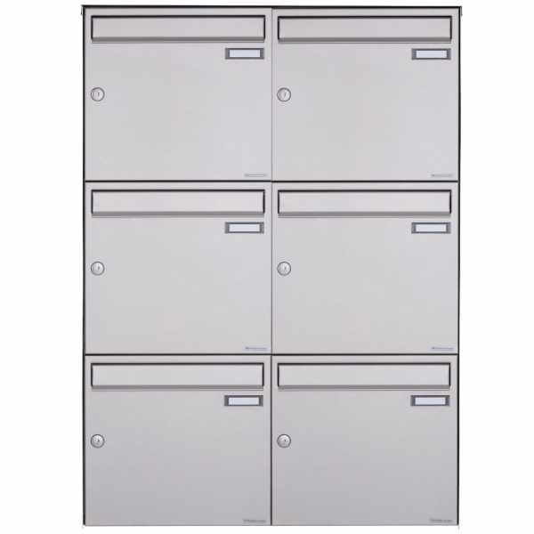 6er Edelstahl Aufputz Briefkasten Design BASIC Plus 382XA AP - Edelstahl V2A geschliffen