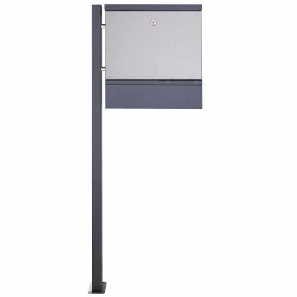 1 Säulen Edelstahl Standbriefkasten BRECHT ST-BP mit Zeitungsfach - Edelstahl-RAL nach Wahl