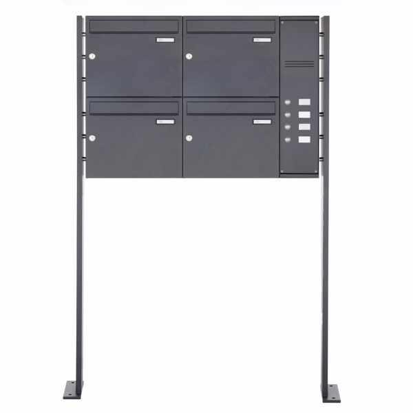 4er Edelstahl Standbriefkasten BASIC Plus 592C ST-P pulverbeschichtet - Klingelkasten - INDIVIDUELL