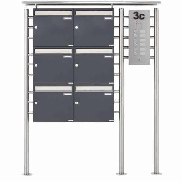 6er Standbriefkasten BASIC 311X ST-R mit Klingelkasten - Edelstahleinwurf - RAL nach Wahl
