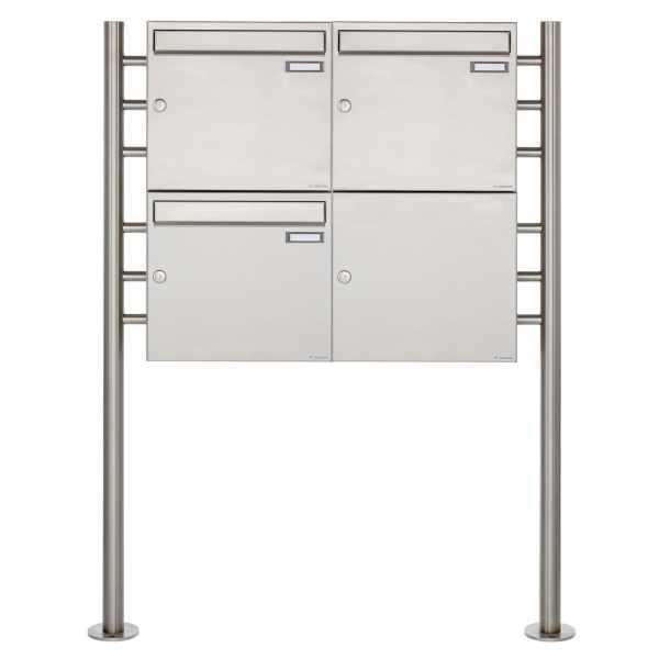3er 2x2 Edelstahl Standbriefkasten Design BASIC 381 ST-R