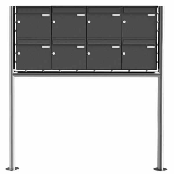 8er 2x4 Edelstahl Standbriefkasten Design BASIC Plus 381X ST-R - RAL nach Wahl