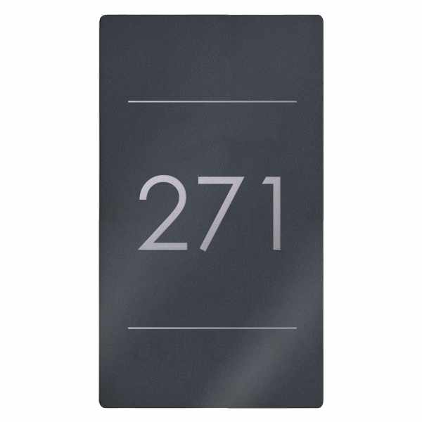 Edelstahl Hausnummer Schild Elegance 423AV2 395x225 - RAL nach Wahl