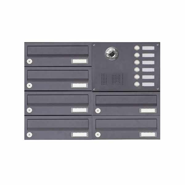 6er Aufputzbriefkasten BASIC Plus 385KXA AP mit Klingelkasten - Kameravorbereitung