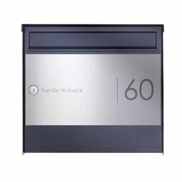 1er Edelstahl Aufputz Briefkasten Design BASIC Plus 382XA AP Elegance II - RAL nach Wahl