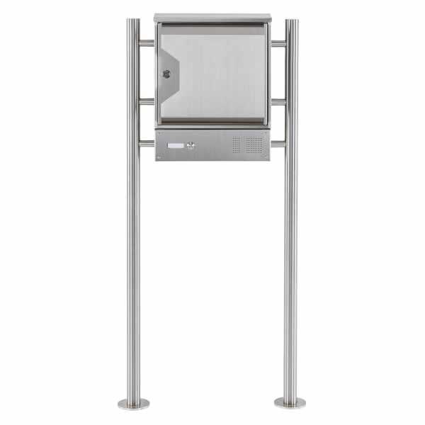 Edelstahl Standbriefkasten HESSE 151 mit Klingel-Funktionskasten und Zeitungsfach