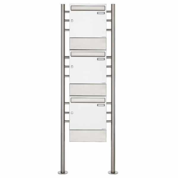 3er 3x1 Standbriefkasten Design BASIC 381 ST-R mit Zeitungsfächer - RAL 9016 verkehrsweiß