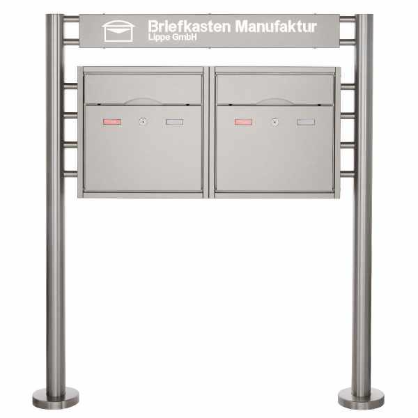 2er Standbriefkasten PREMIUM BIG ST-R mit Beleuchtungskasten 800x100x50 aus Edelstahl