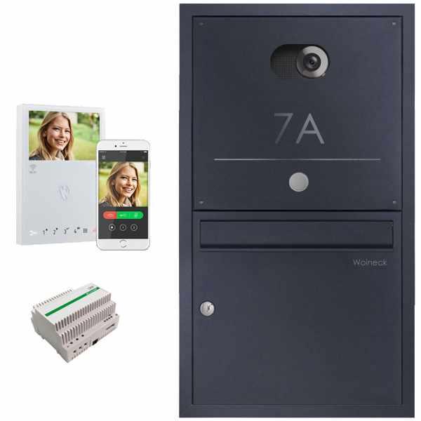 Edelstahl Unterputzbriefkasten BASIC Plus 382XU Elegance - Comelit VIDEO Komplettset Wifi - RAL