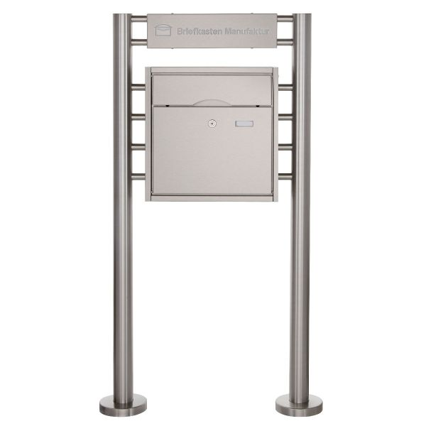 Standbriefkasten PREMIUM BIG ST-R mit Beleuchtungskasten 400x100x50 aus Edelstahl gebürstet