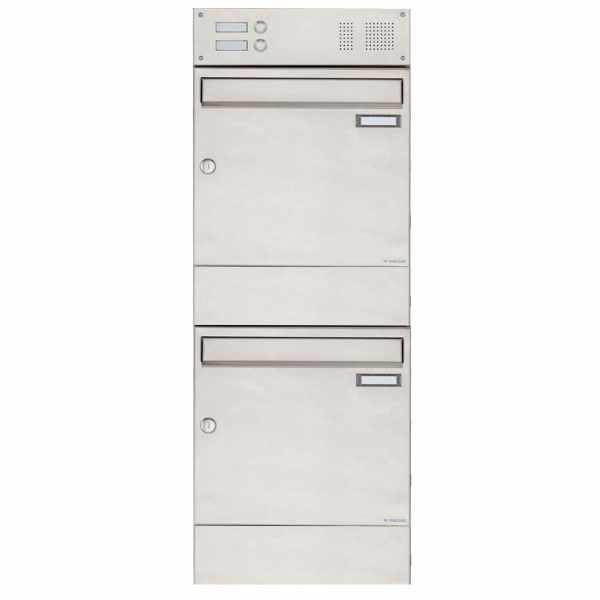 2er 2x1 Edelstahl Aufputz Briefkasten BASIC 382A AP mit Klingelkasten & Zeitungsfach