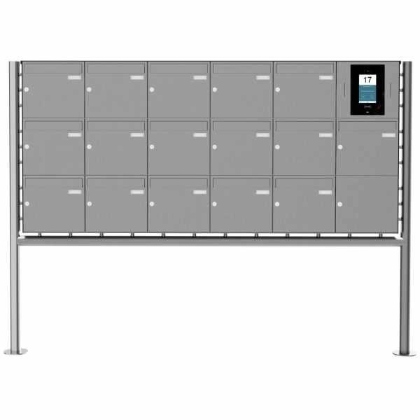 16er Edelstahl Standbriefkasten BASIC Plus 381X ST-R - STR Digitale Türstation - Komplettset