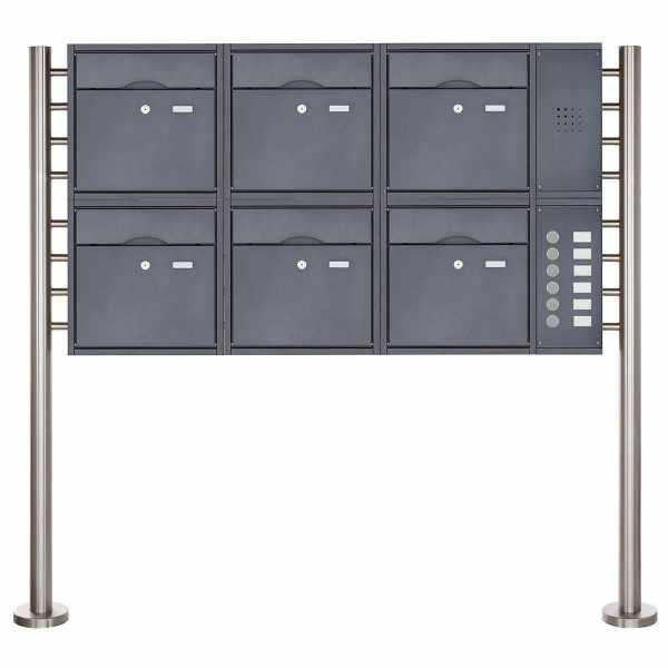 6er 2x3 Standbriefkasten PREMIUM BIG mit Klingeltableau aus Edelstahl pulverbeschichtet in RAL