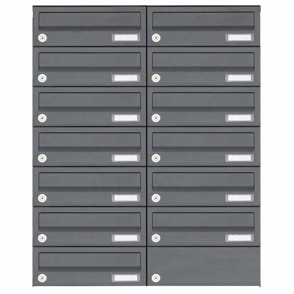 13er 7x2 Aufputz Briefkastenanlage Design BASIC 385A AP - RAL 7016 anthrazitgrau