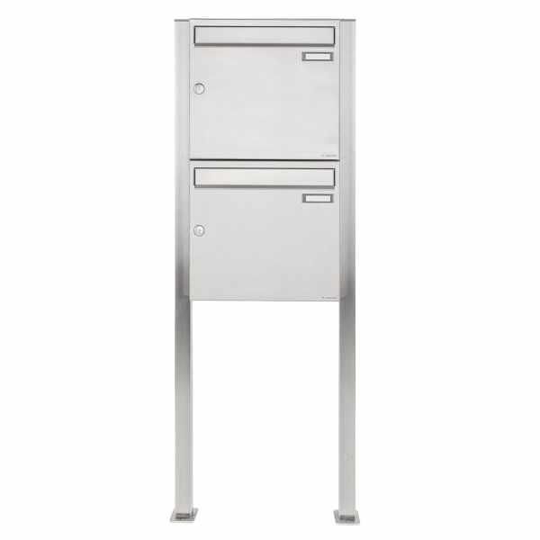 2er 2x1 Edelstahl Standbriefkasten Design BASIC 384 ST-Q