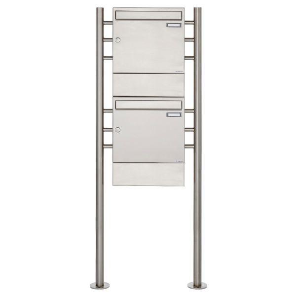 2er 2x1 Edelstahl Standbriefkasten Design BASIC 381 ST-R mit Zeitungsfächer