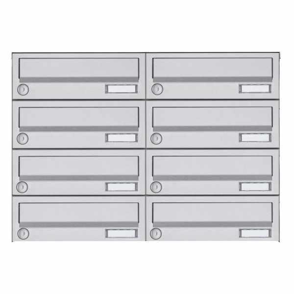 8er 4x2 Aufputz Briefkastenanlage Design BASIC 385A AP - Edelstahl V2A, geschliffen