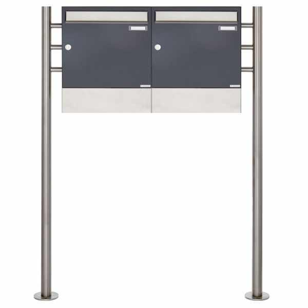 2er 1x2 Standbriefkasten Design BASIC 381 ST-R mit Zeitungsfächer - Edelstahl-RAL 7016 anthrazitgrau