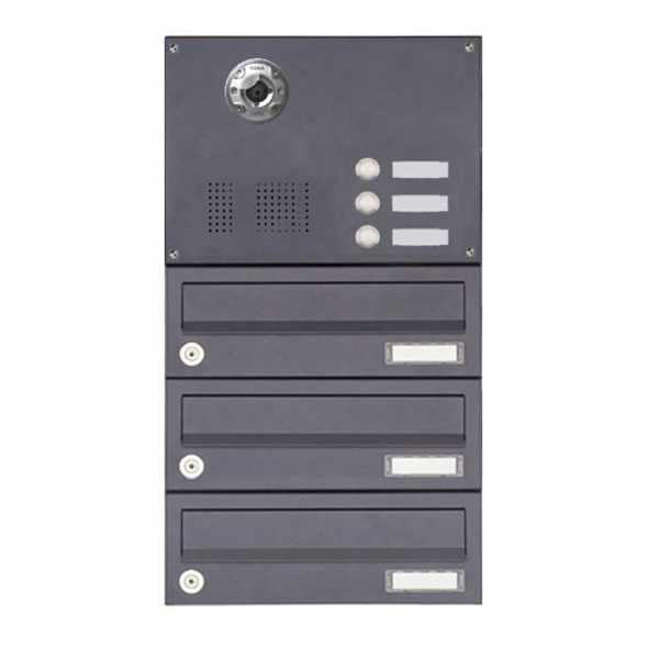 3er Aufputzbriefkasten BASIC Plus 385KXA AP mit Klingelkasten - Kameravorbereitung