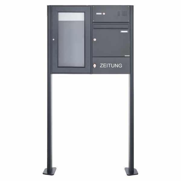 Standbriefkasten mit Schaukasten BASIC 3892 ST-T - Klingelkasten & Zeitungsfach - 355x660 - RAL 7016