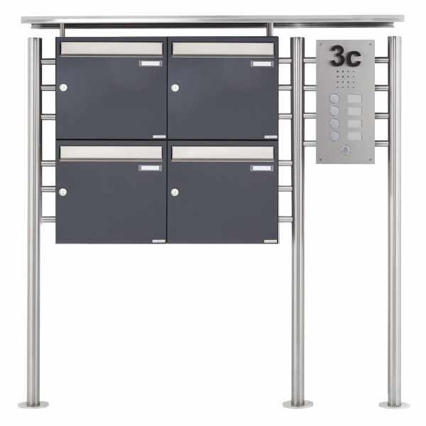 4er Standbriefkasten BASIC 311X ST-R mit Klingelkasten - Edelstahleinwurf - RAL nach Wahl