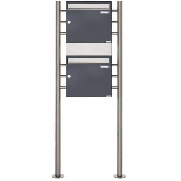 2er 2x1 Standbriefkasten Design BASIC 381 ST-R mit 1x Zeitungsfach - Edelstahl-RAL 7016 anthrazit