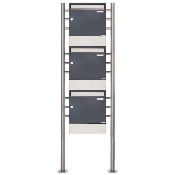 3er 3x1 Standbriefkasten Design BASIC 381 ST-R mit Zeitungsfächer - Edelstahl-RAL 7016 anthrazitgrau