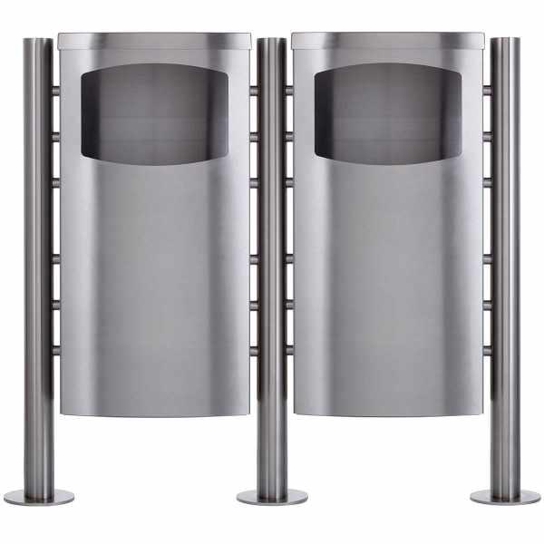 2-fach Abfalleimer - Abfallbehälter Design BASIC 650X ST-R - 45 Liter - Edelstahl geschliffen