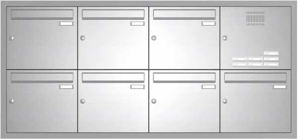 Edelstahl Unterputz Briefkastenanlage BASIC 534-UP - Klingel- Sprechstelle - 7 Parteien