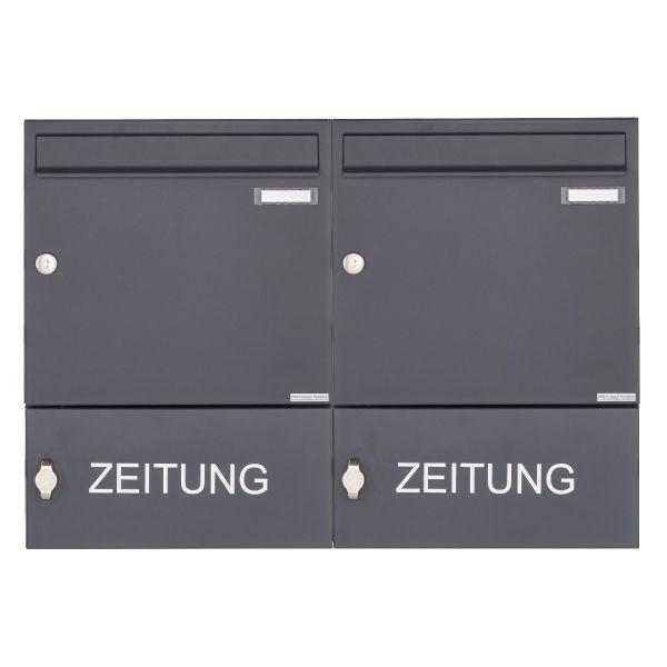 2er Aufputz Briefkasten Design BASIC 382A AP mit Zeitungsfach geschlossen - RAL 7016 anthrazitgrau
