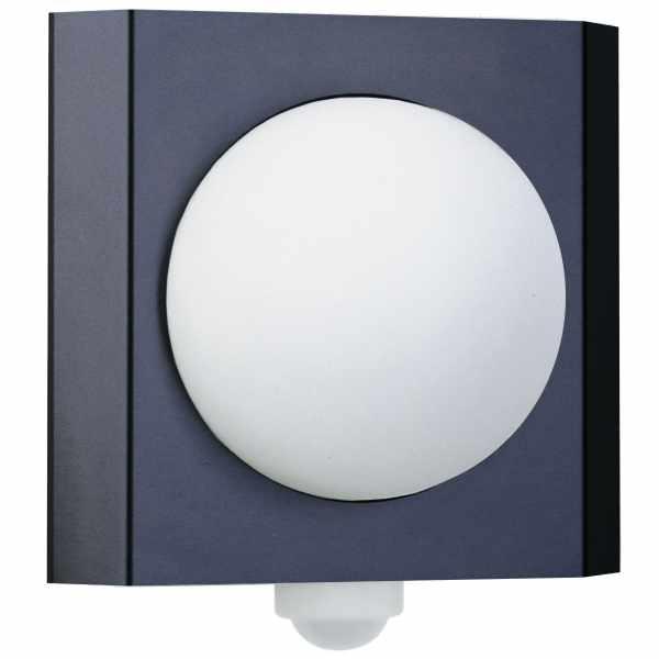 Design Wandleuchte GUTENBERG mit Bewegungsmelder 250x275 - Edelstahl pulverbeschichtet - RAL Farbe