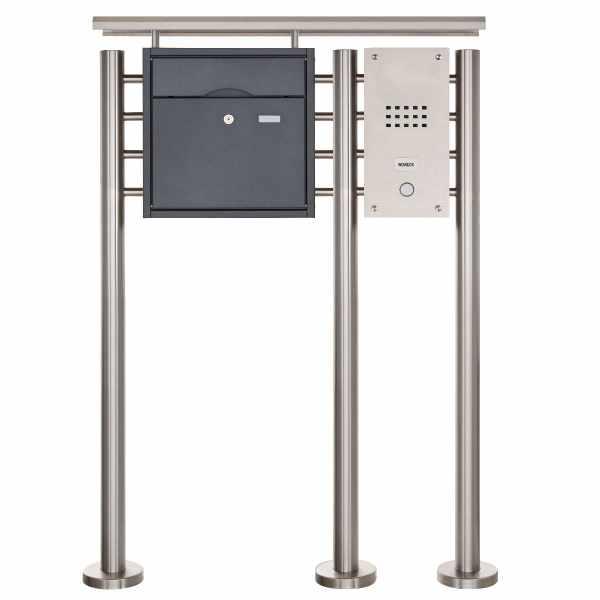 Standbriefkasten PREMIUM BIG ST-R3 aus Edelstahl pulverbeschichtet mit Klingeltableau und Regendach