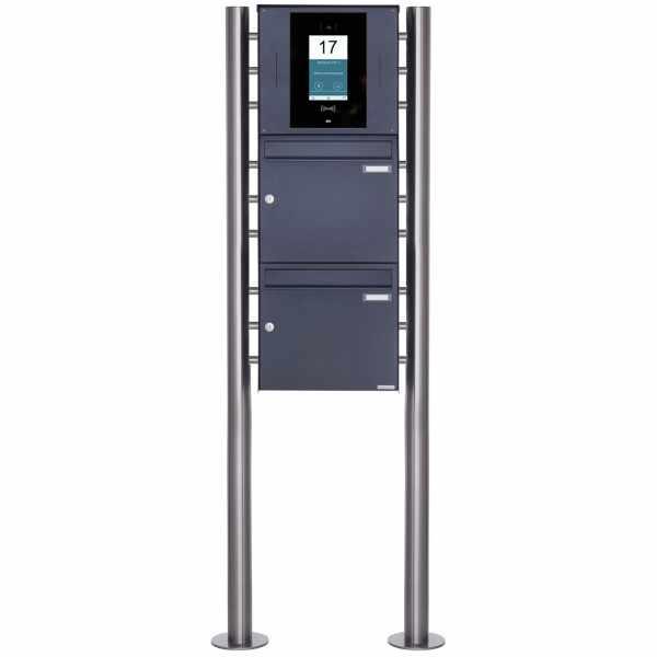 2er Edelstahl Standbriefkasten BASIC Plus 381X ST-R - RAL- STR Digitale Türstation - Komplettset