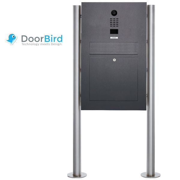 Edelstahl Standbriefkasten Designer BIG ST-R mit DoorBird D2100E Video- Sprechanlage - RAL Farbe