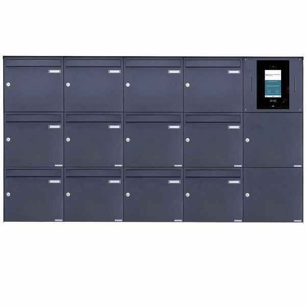 12er 5x3 Edelstahl Aufputzbriefkasten BASIC Plus 382XA AP - RAL nach Wahl - STR Digitale Türstation