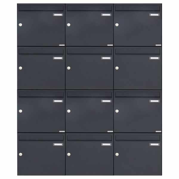 12er 4x3 Aufputz Briefkasten Design BASIC 382A AP - RAL 7016 anthrazitgrau