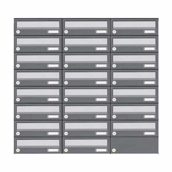 23er 8x3 Aufputz Briefkastenanlage Design BASIC 385A AP - Edelstahl-RAL 7016 anthrazit