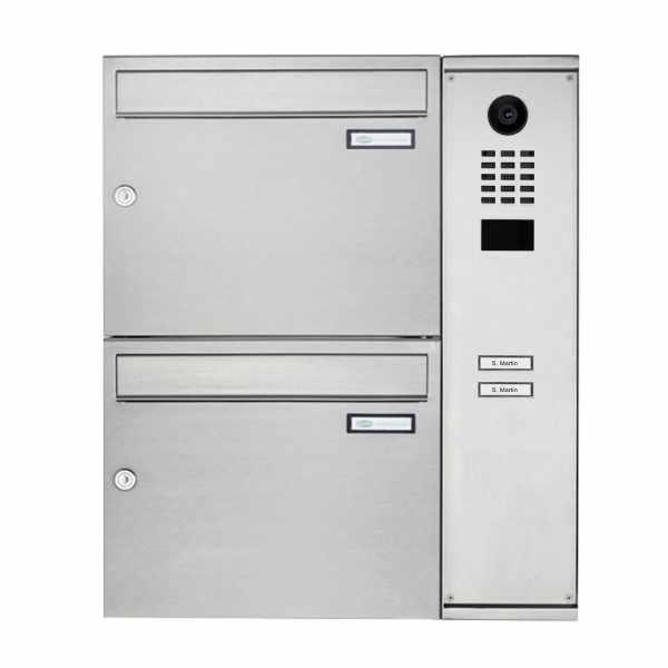 2er Edelstahl Aufputzbriefkasten BASIC Plus 592C AP mit DoorBird D2100E Video- Sprechanlage