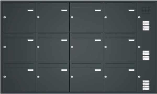 Unterputz Briefkastenanlage BASIC 534 - Pulverbeschichtet- Klingel- Sprechstelle - 12 Parteien