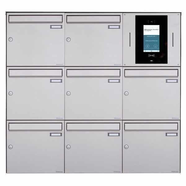 8er 3x3 Aufputzbriefkasten BASIC Plus 382XA AP - Edelstahl geschliffen - STR Digitale Türstation
