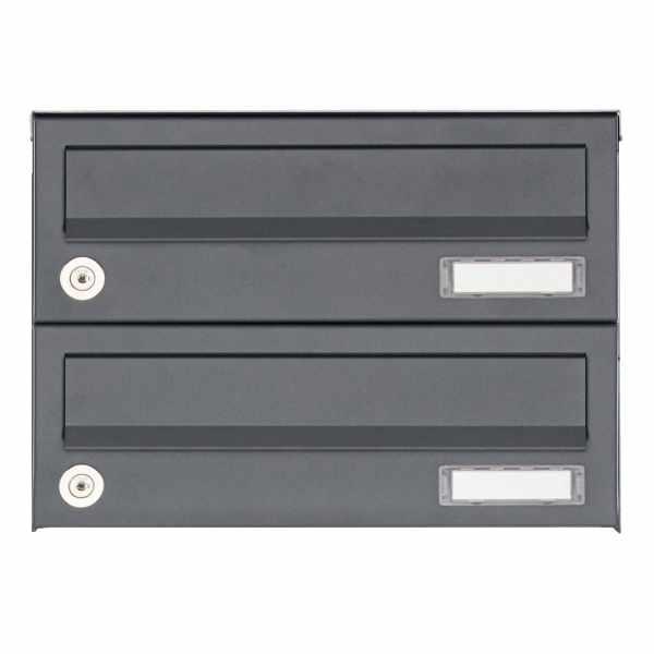 2er Aufputz Briefkastenanlage Design BASIC 385A AP - RAL 7016 anthrazitgrau