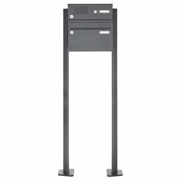 1er Standbriefkasten Design BASIC Plus 385XP220 ST-T mit Klingelkasten - RAL nach Wahl
