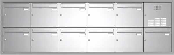 11er Edelstahl Unterputz Briefkastenanlage BASIC 534 UP SP- mit Klingelkasten