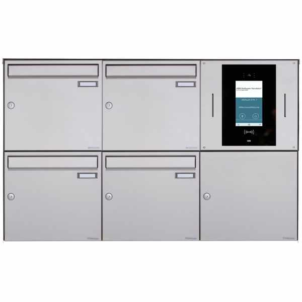 4er 3x2 Aufputzbriefkasten BASIC Plus 382XA AP - Edelstahl geschliffen - STR Digitale Türstation