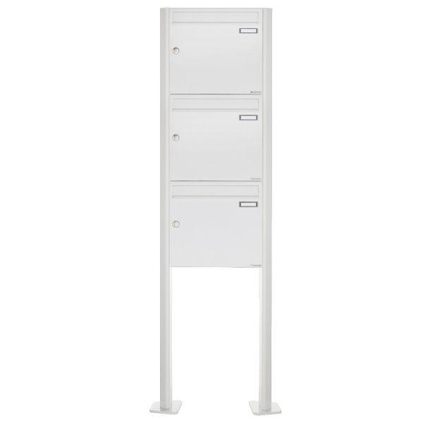 3er 3x1 Standbriefkasten Design BASIC 380 ST-T - RAL 9016 verkehrsweiß