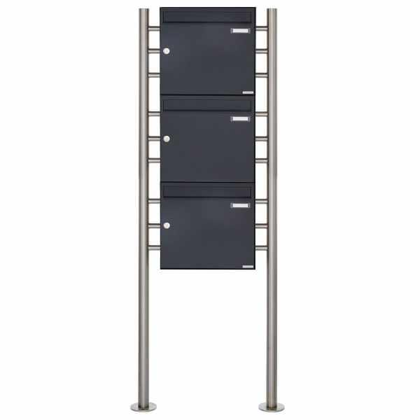 3er 3x1 Briefkastenanlage freistehend Design BASIC 381 ST-R - RAL 7016 anthrazitgrau