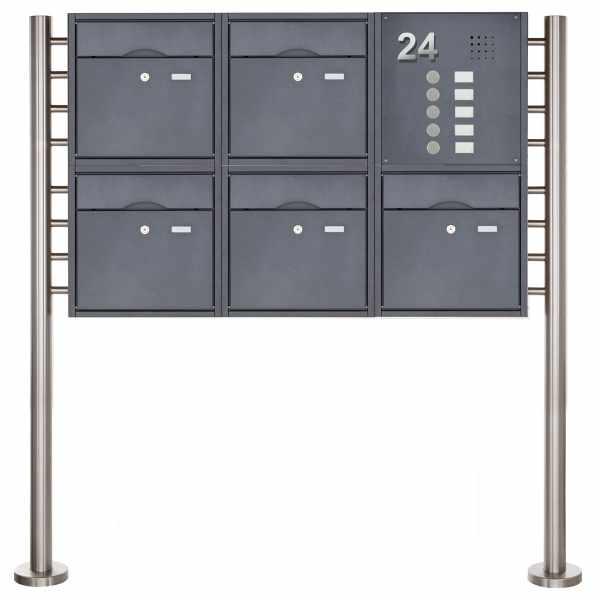5er 2x3 Standbriefkasten PREMIUM BIG mit Klingeltableau aus Edelstahl pulverbeschichtet in RAL